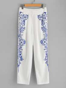 Ornate Print Box Pleated Pants