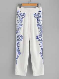 Ornate Print Box Pleated Pants