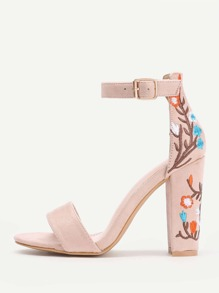 Embroidery Detail Two Part Block Heeled Sandals
