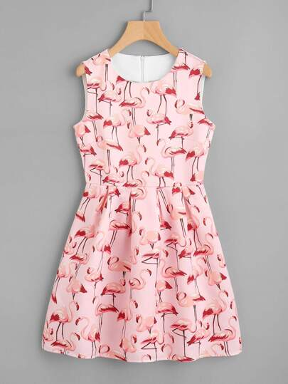 All Over Flamingo Print Fit & Flare Dress