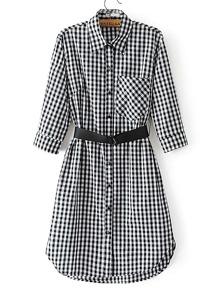 Gingham Shirt Dress With Belt