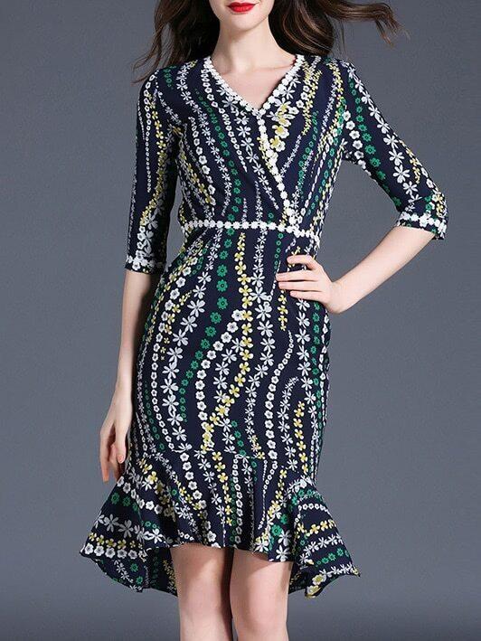 Фото V Neck Floral High Low Fishtail Dress. Купить с доставкой