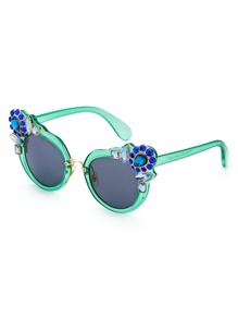Contrast Rhinestone Cat Eye Sunglasses