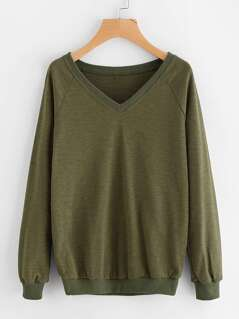 Ribbed Trim Raglan Sleeve Slub Sweatshirt