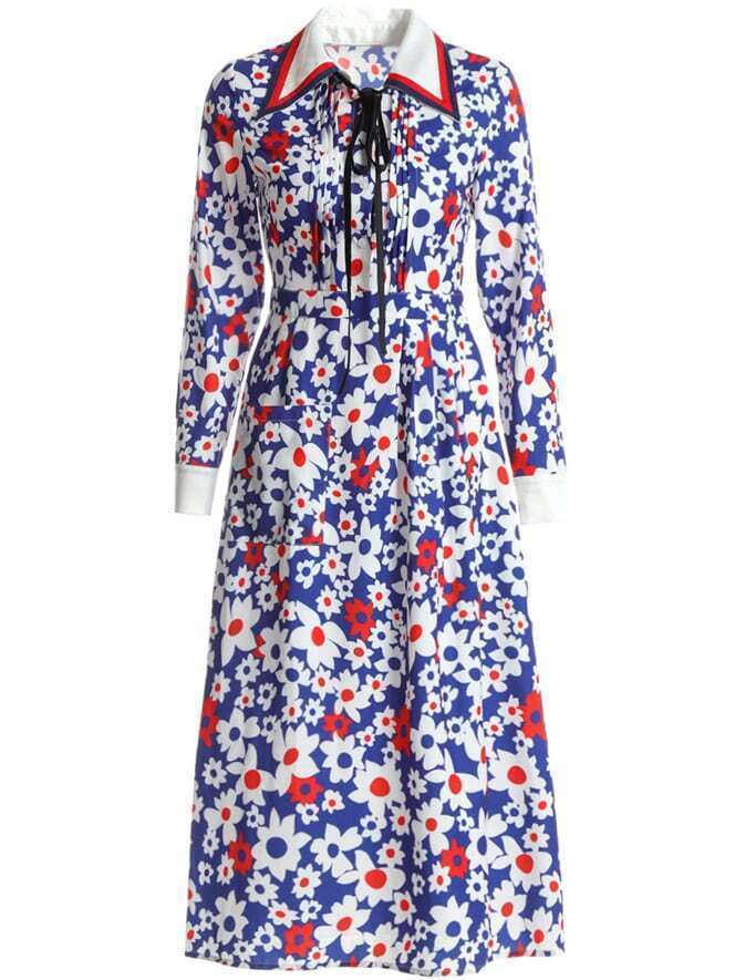 Фото Tie Neck Floral Shift Dress. Купить с доставкой