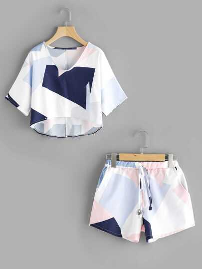Patchwork Dip Hem Top With Drawstring Shorts