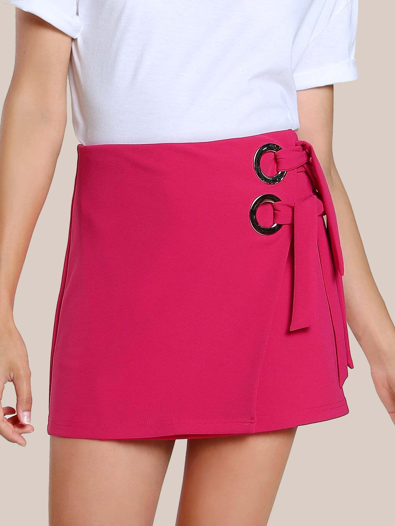 Фото O-Ring Detail Self Tie Wrap Skirt. Купить с доставкой