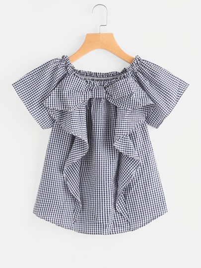 Gingham Frill Trim Blouse