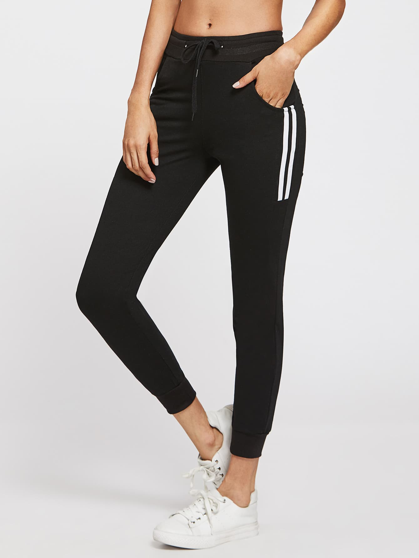 Image of Side Striped Drawstring Waist Pants