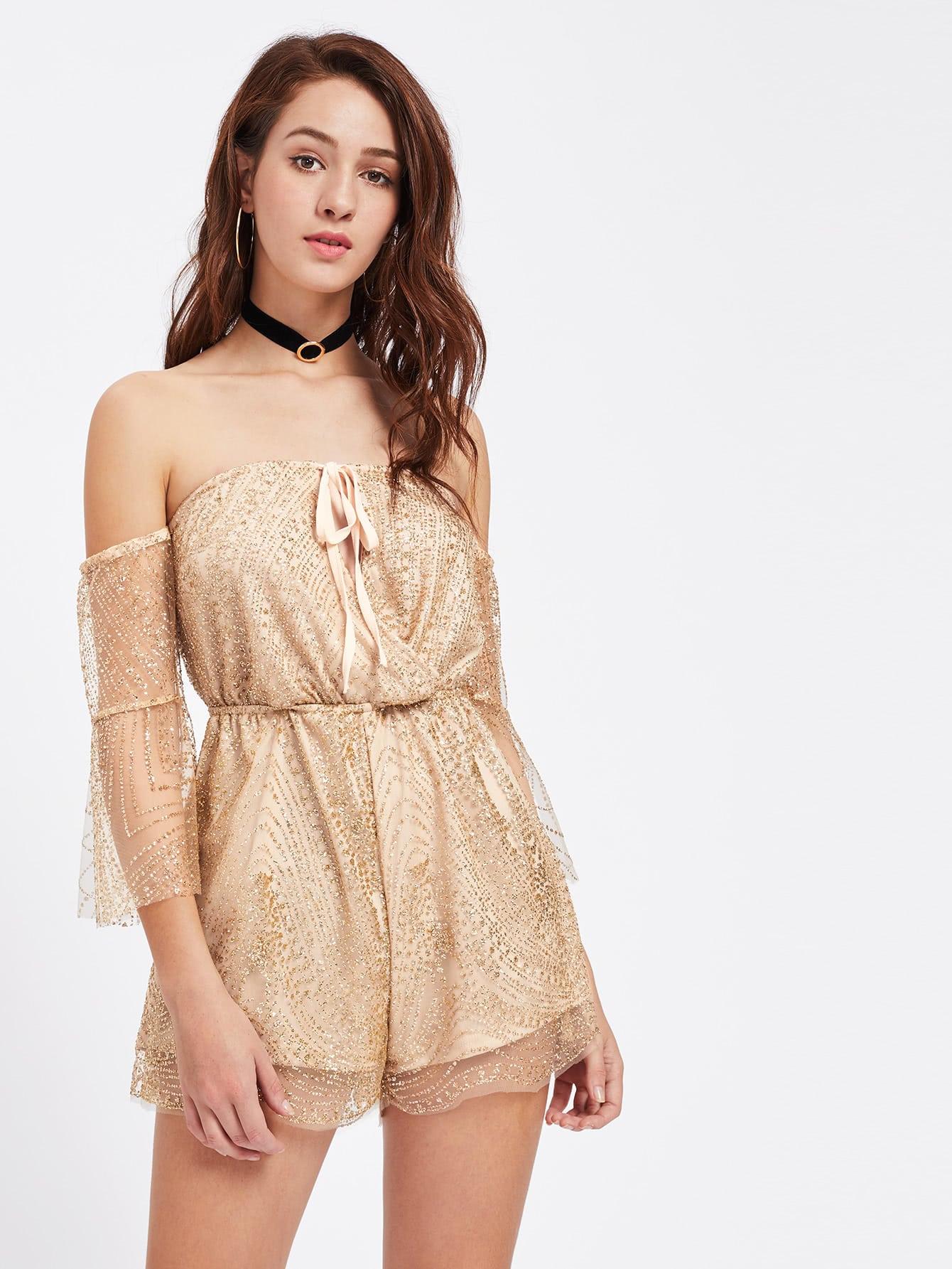 Фото Bardot Lace Up Bib Sequin Detail Playsuit. Купить с доставкой