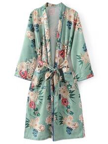 Kimono largo con estampado floral con cordones