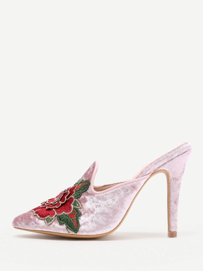 Flower Embellished Stiletto Mules  10.5/ 0.5