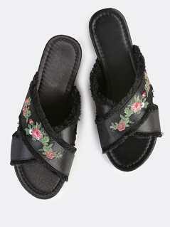 Embroidered Satin Slip On Sandals BLACK