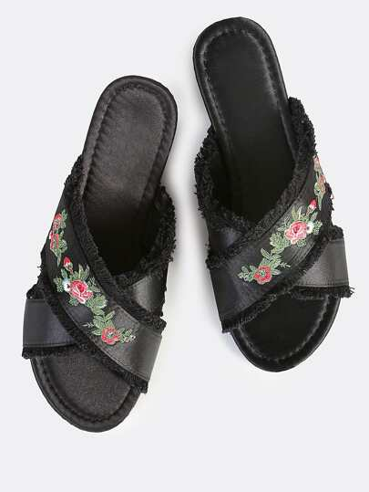 Embroidered Satin Slip On Sandals BLACK