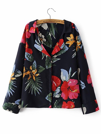 Flower Print Hidden Button Blouse
