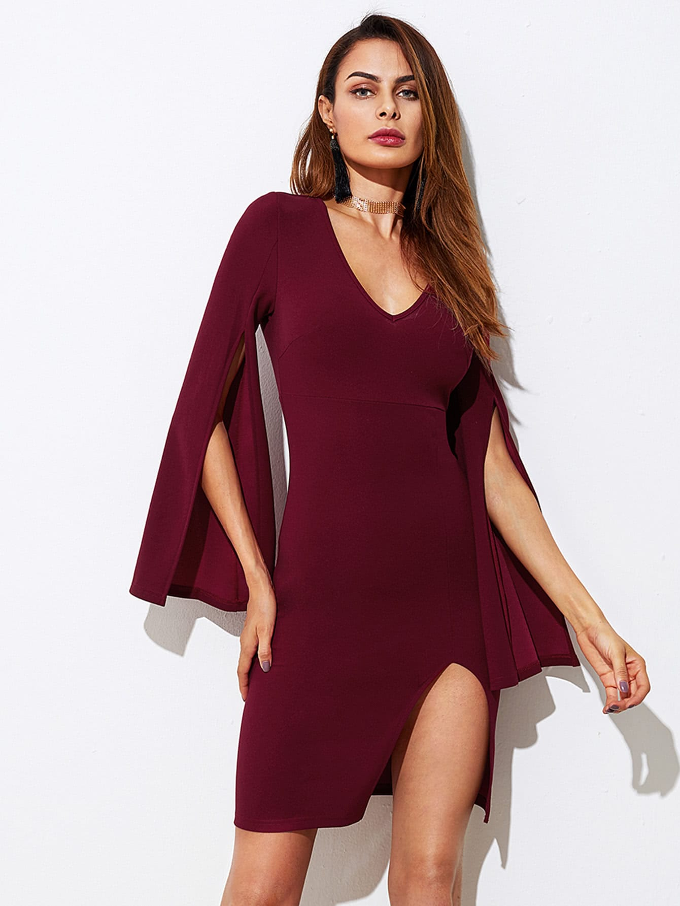 Split Form Fitting Dress guipure lace form fitting dress