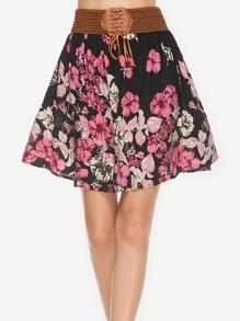Falda floral con cintura en contraste
