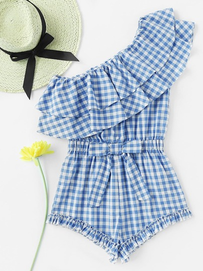 One Shoulder Flounce Layered Waist Bow Romper