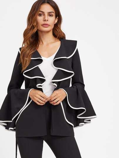 Contrast Binding Ruffle Shawl Collar Bell Sleeve Blazer