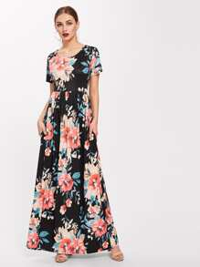 All Over Florals Full Length Dress