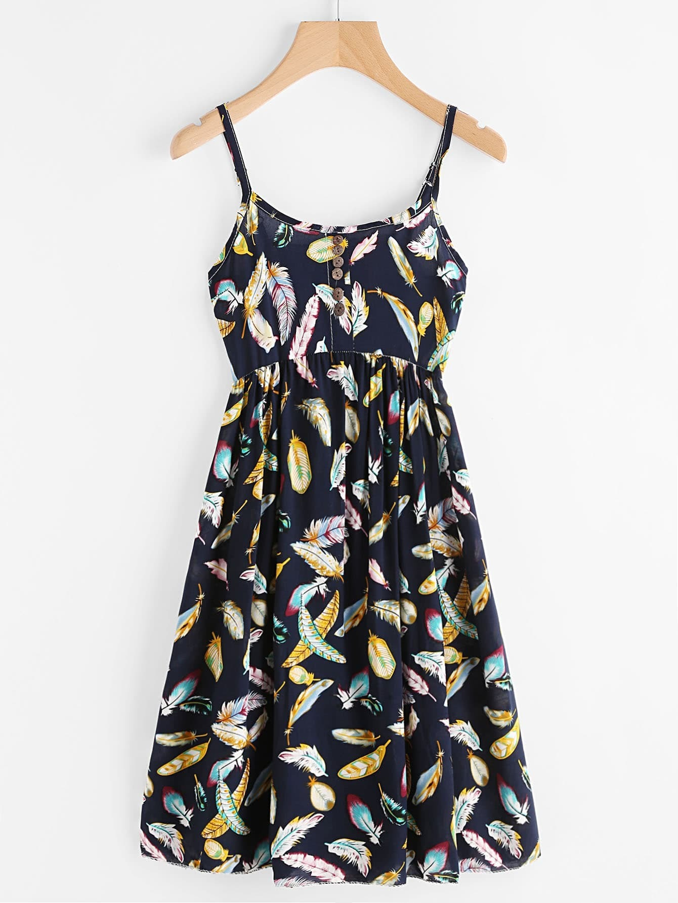 Feather Print Random Button Front Cami Dress