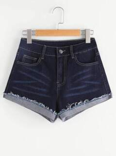 Raw Cuffed Topstitch Denim Shorts