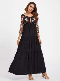 Keyhole Tie Neck Embroidered Mesh Overlap Tiered Dress