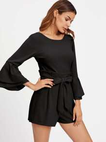 Layered Bell Sleeve Pleated Ruffle Detail Romper