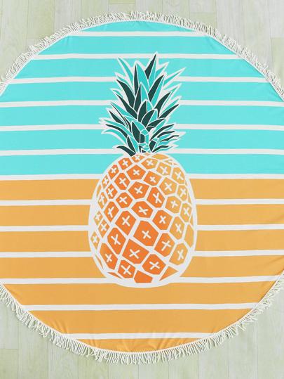 Pineapple & Block Striped Print Fringe Edge Round Beach Blanket