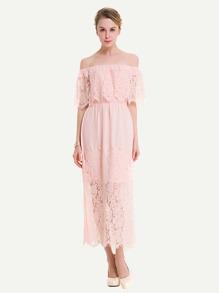 Floral Eyelash Lace Layered Neckline Dress