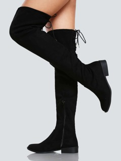 Faux Suede Back Lace Up Thigh High Boot BLACK