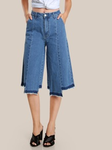 Raw Hem High Rise Flare Capri Pants DENIM