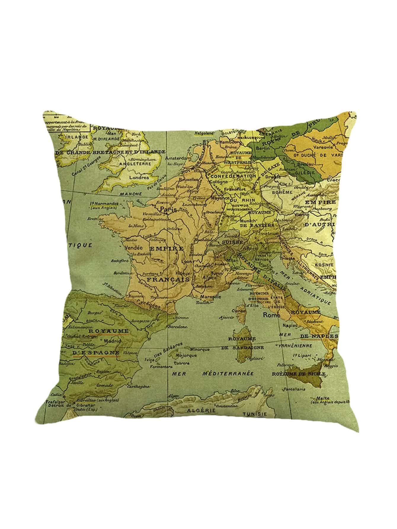 Фото Map Print Cushion Cover. Купить с доставкой