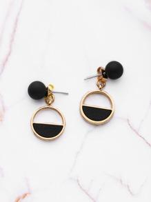 PU Detail Geometric Earrings With Ball