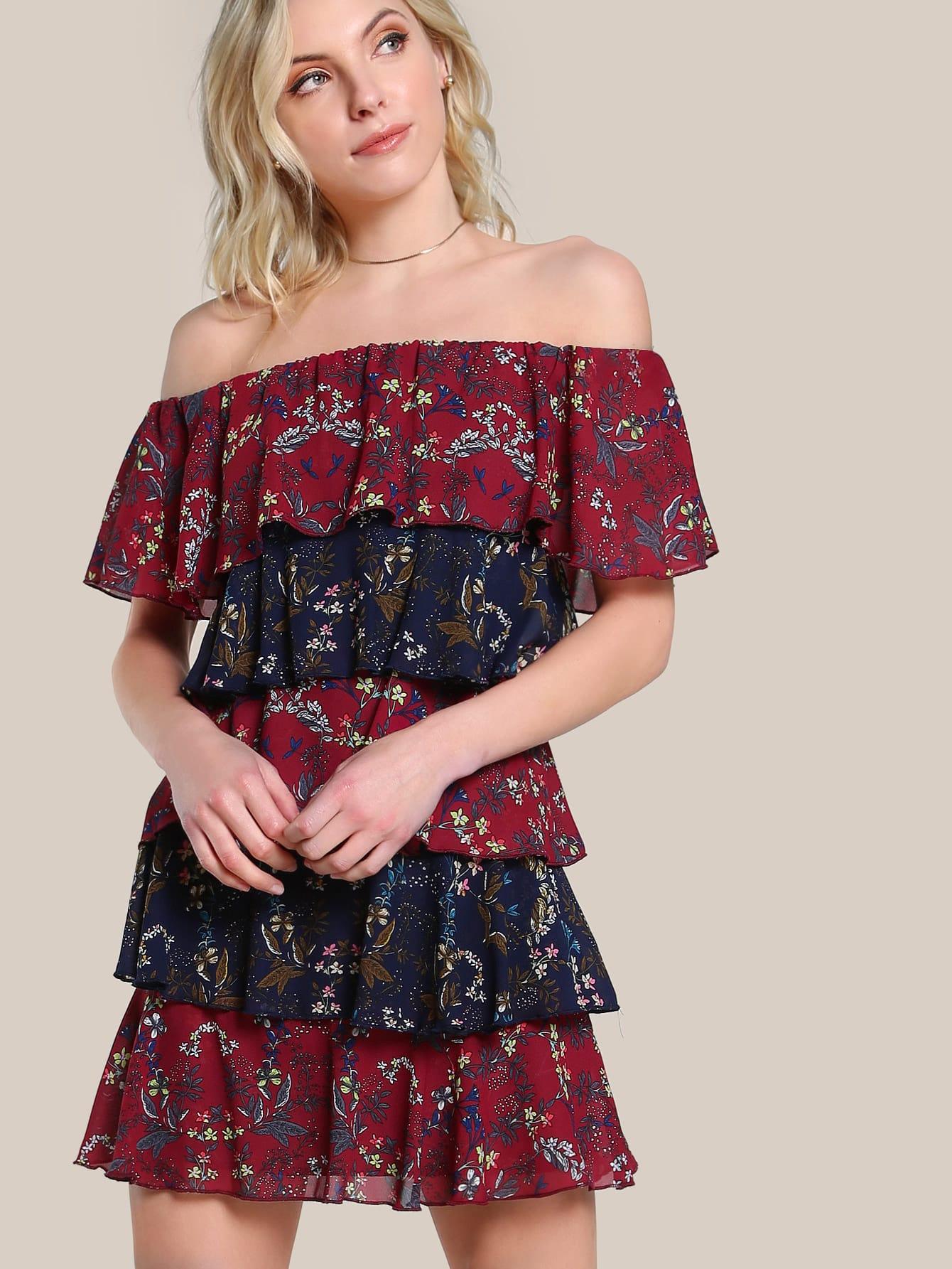 Фото Off Shoulder Layered Botanical Dress. Купить с доставкой