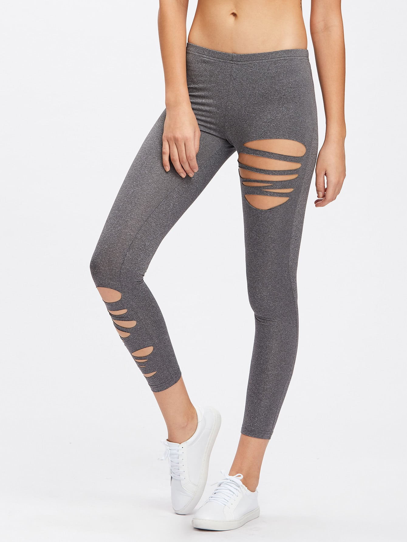 Slashed Marled Knit Leggings