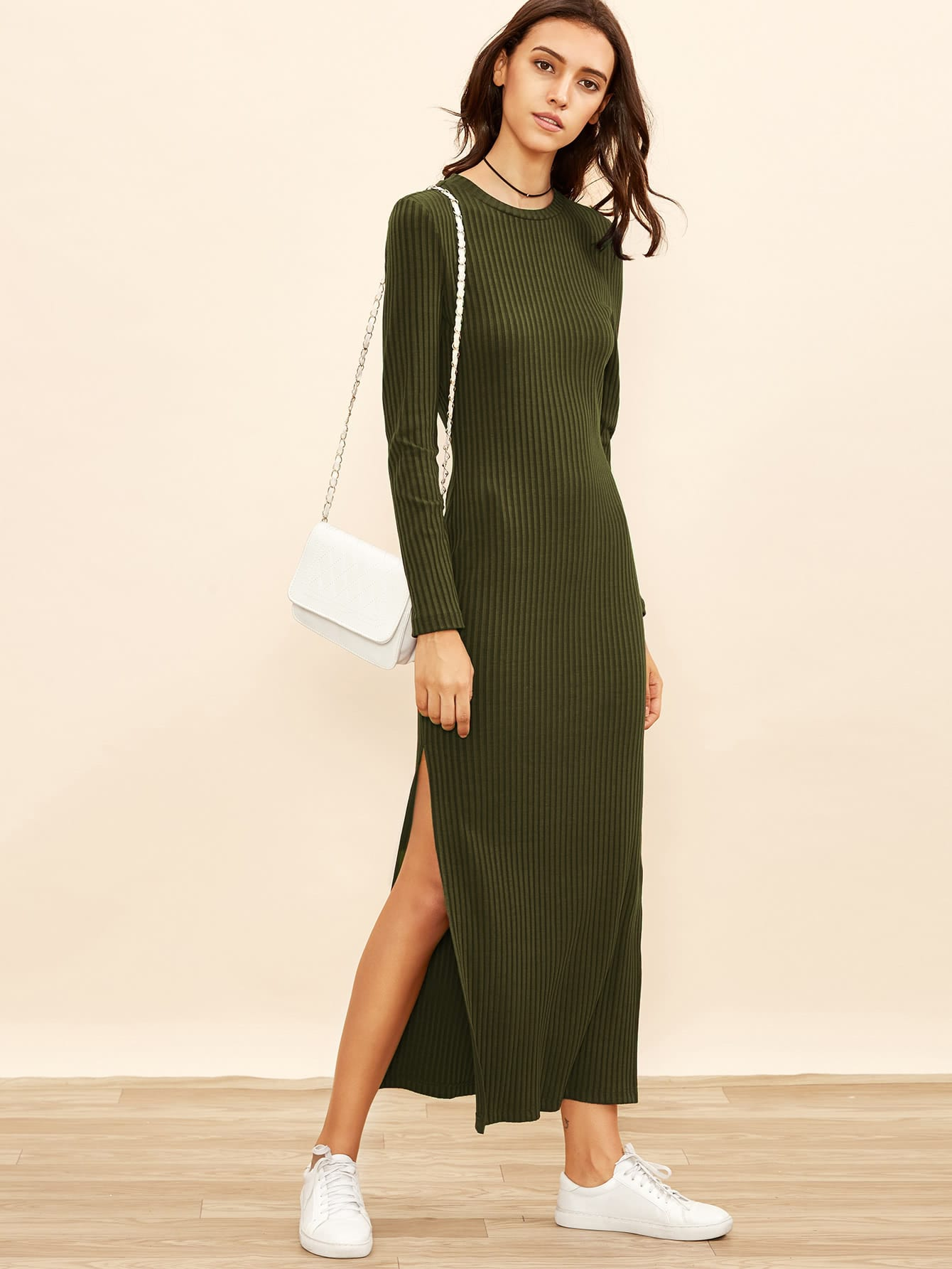 High Slit Ribbed Dress dress170721701