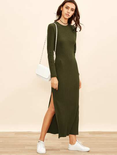 High Slit Ribbed Dress