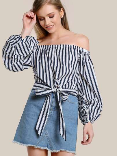 Off SHoulder Striped Long Sleeve Top NAVY WHITE