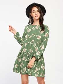 Allover Flower Print Lantern Sleeve Drop Waist Dress