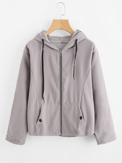 Hooded Drawstring Zip Up Sweatshirt Coat