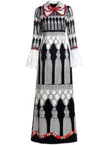 Bowknot Vintage Print Bell Lace Sleeve Maxi Dress