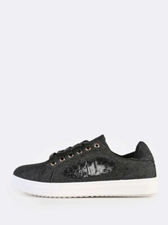 Distressed Denim Lace Up Sneakers BLACK DENIM