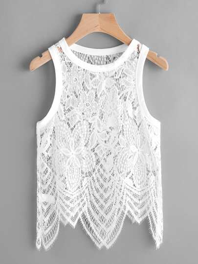 Hollow Out Eyelash Lace Tank Top