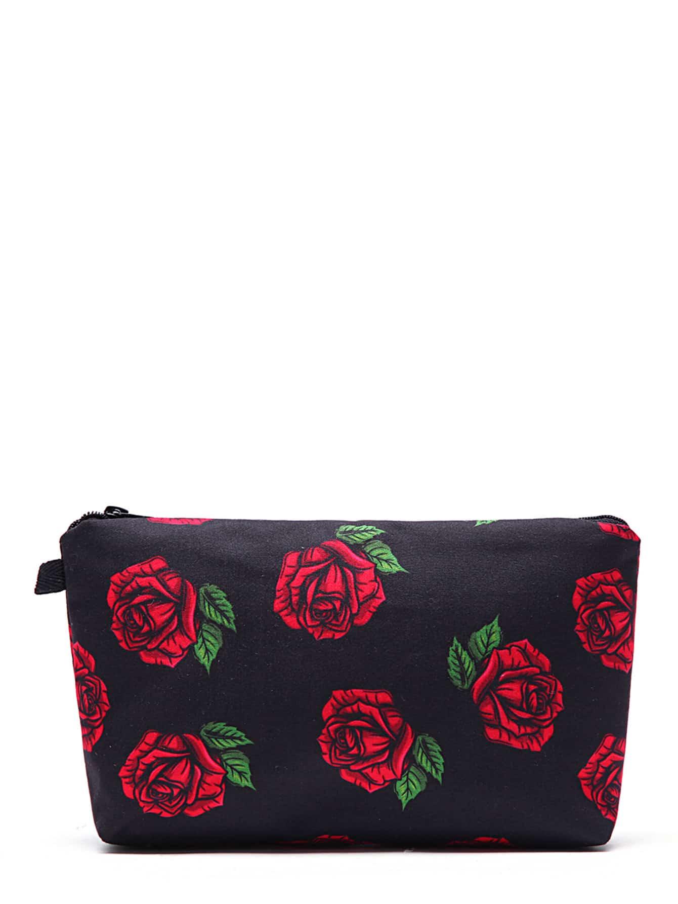 Rose Flower Print Makeup Bag