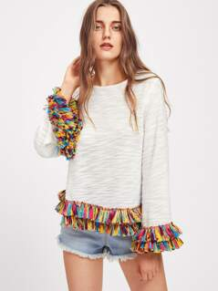 Colorful Fringe Trim Slub Tee