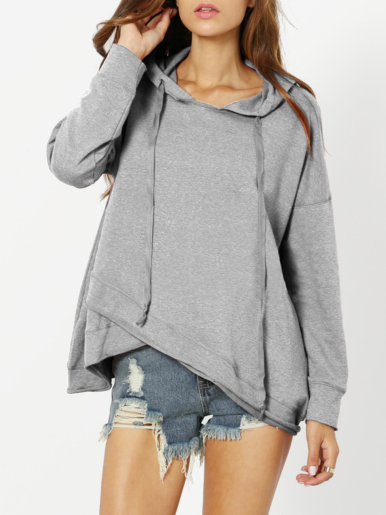 Dropped Shoulder Heather Knit Overlap Hoodie heather plus size hoodie
