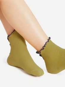 Lettuce Trim Bow Tie Back Ankle Socks