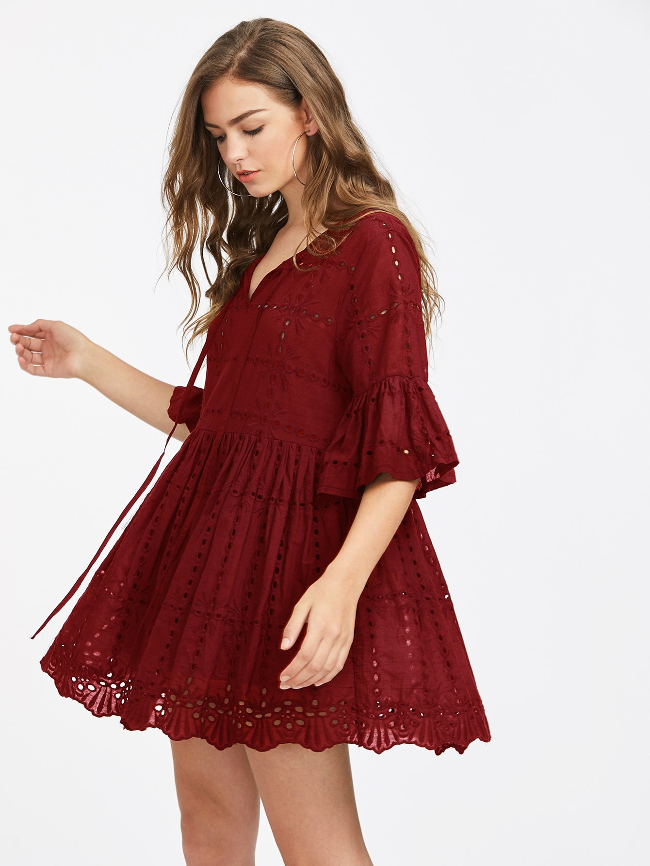 Tie Neck Fluted Sleeve Eyelet Embroidered Smock Dress tassel tie neck embroidered velvet smock dress