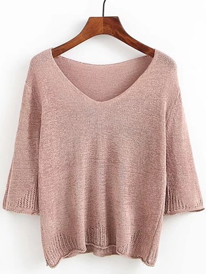 3/4 Sleeve Sheer Knitwear